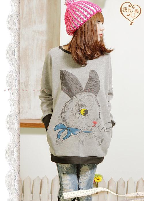 日系E寓言童话E可爱兔子图案休闲长版上衣NF2023