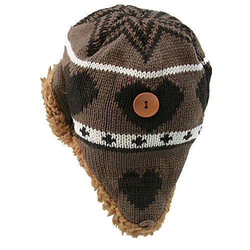 【心型编织】儿童护耳帽/棕