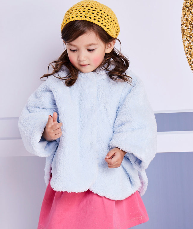 粉蓝baby_disneybaby 暖暖米妮小耳朵雪花绒斗蓬 - 粉蓝