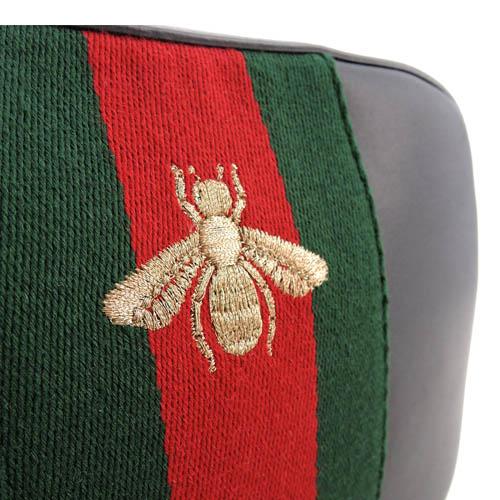GUCCI 蜜蜂刺绣红绿织带滑面牛皮斜背包 黑