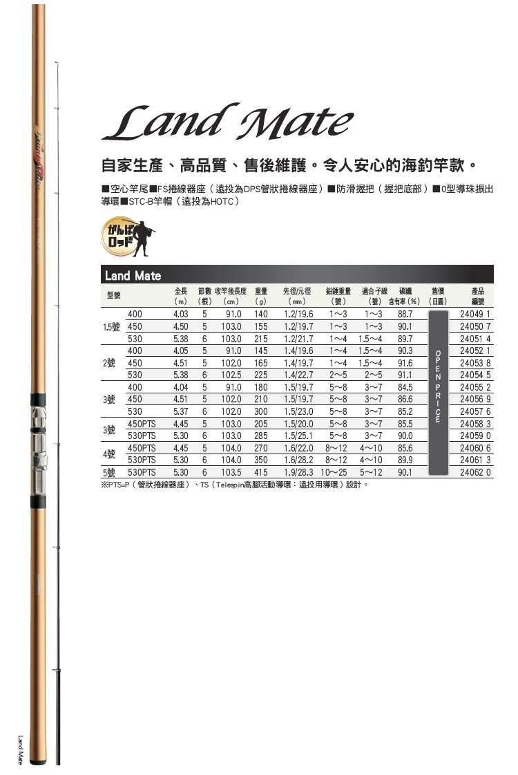 【SHIMANO】LAND MATE 4號 530PTS 防波堤釣竿