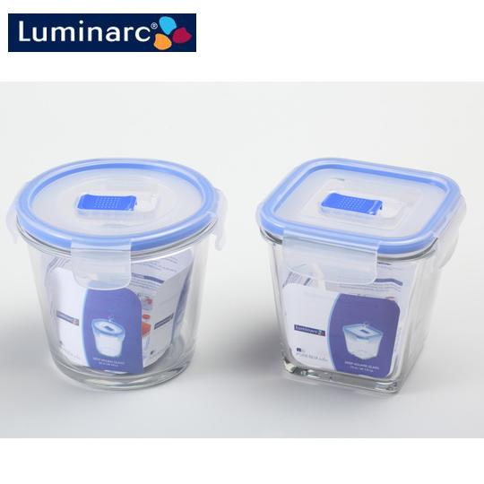 【Luminarc 樂美雅】氣閥保鮮罐(圓型840ml+方型750ml)