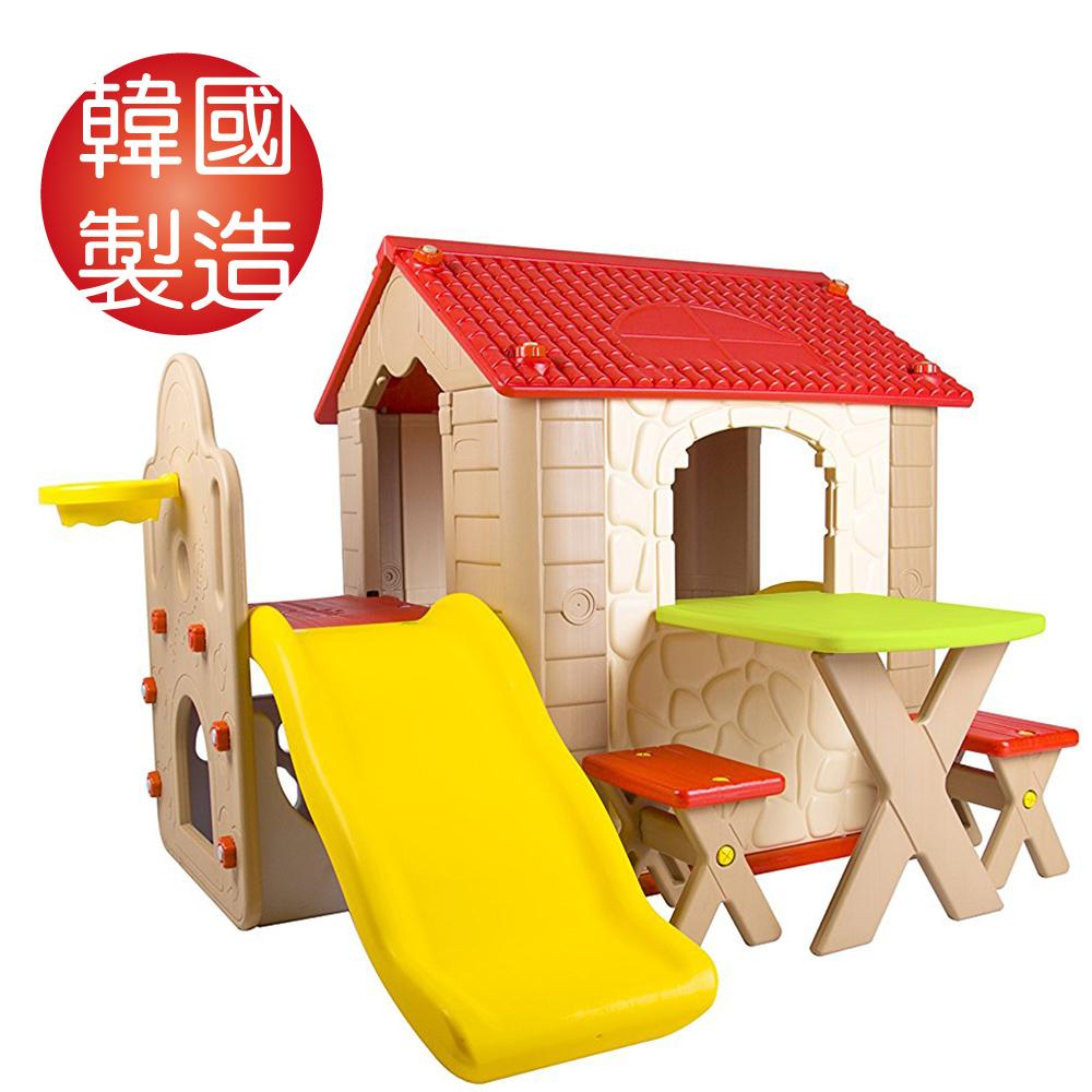 韓國【HAENIM TOY】Fun Park Kids Play House 多功能遊戲屋+溜滑梯+桌椅 HN-777