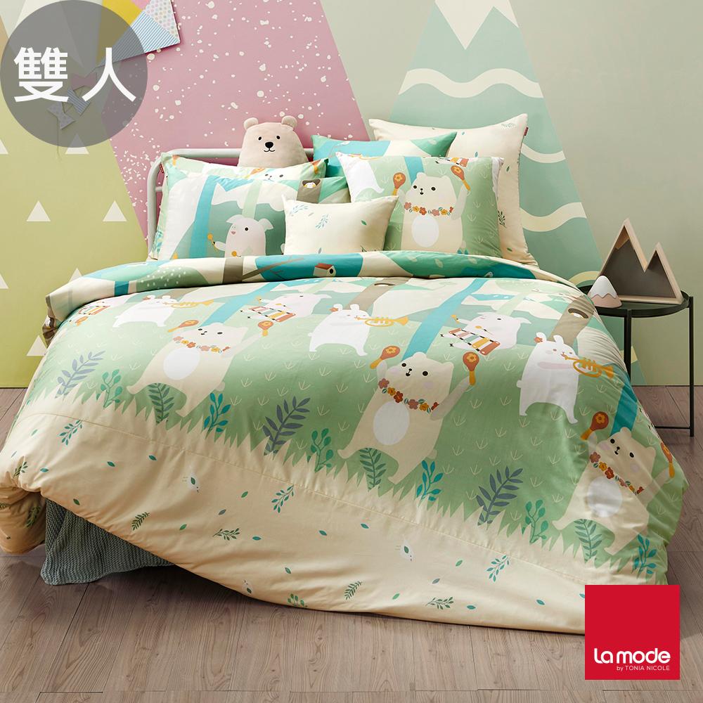 La Mode寢飾 森林音樂會環保印染100%精梳棉兩用被床包組(雙人)