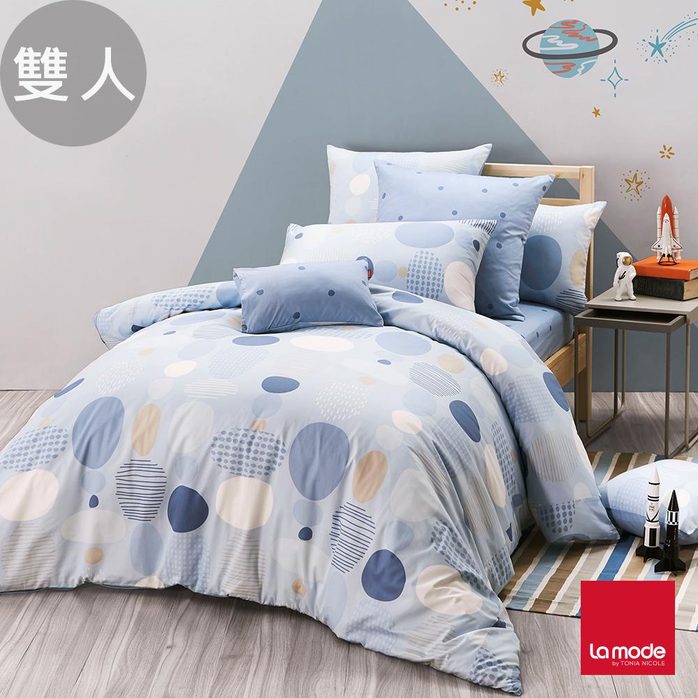 La Mode寢飾 薄荷泡泡糖環保印染100%精梳棉兩用被床包組(雙人)