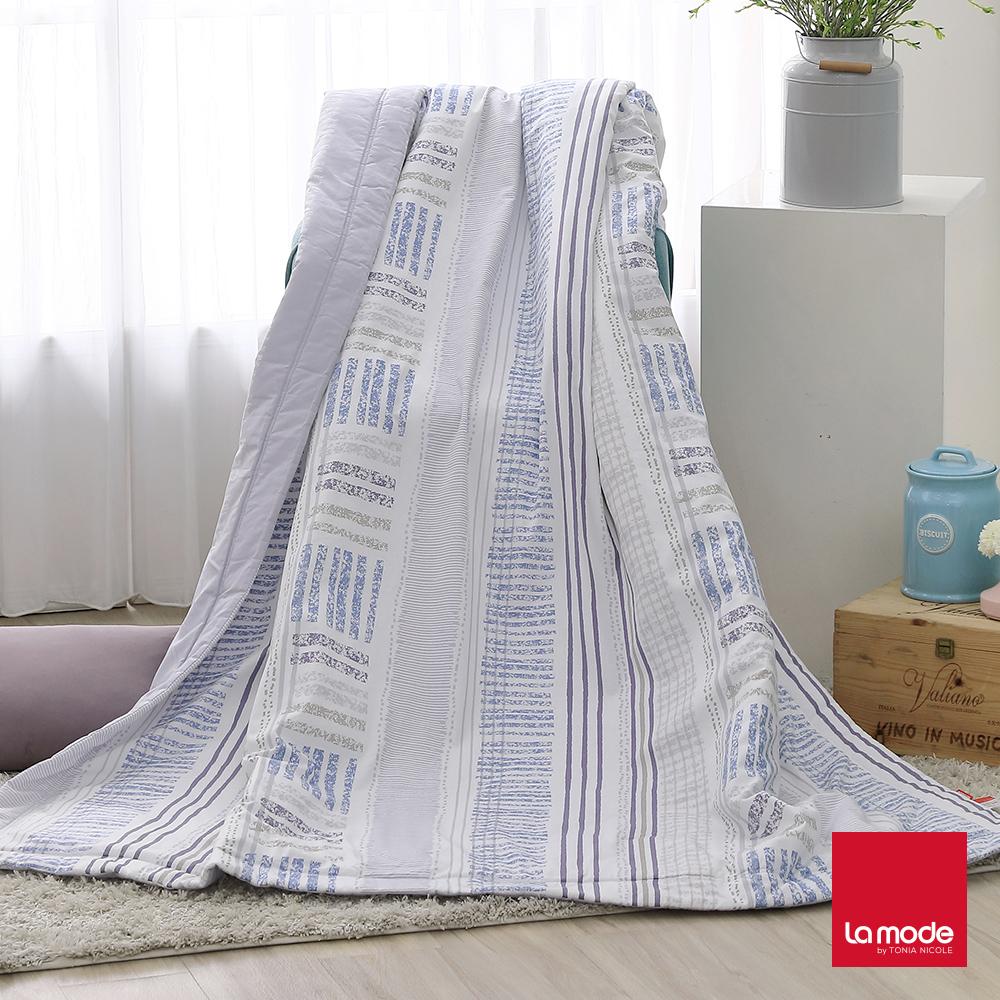 La Mode寢飾 蔚藍海岸環保印染100%精梳純棉涼被(單人)