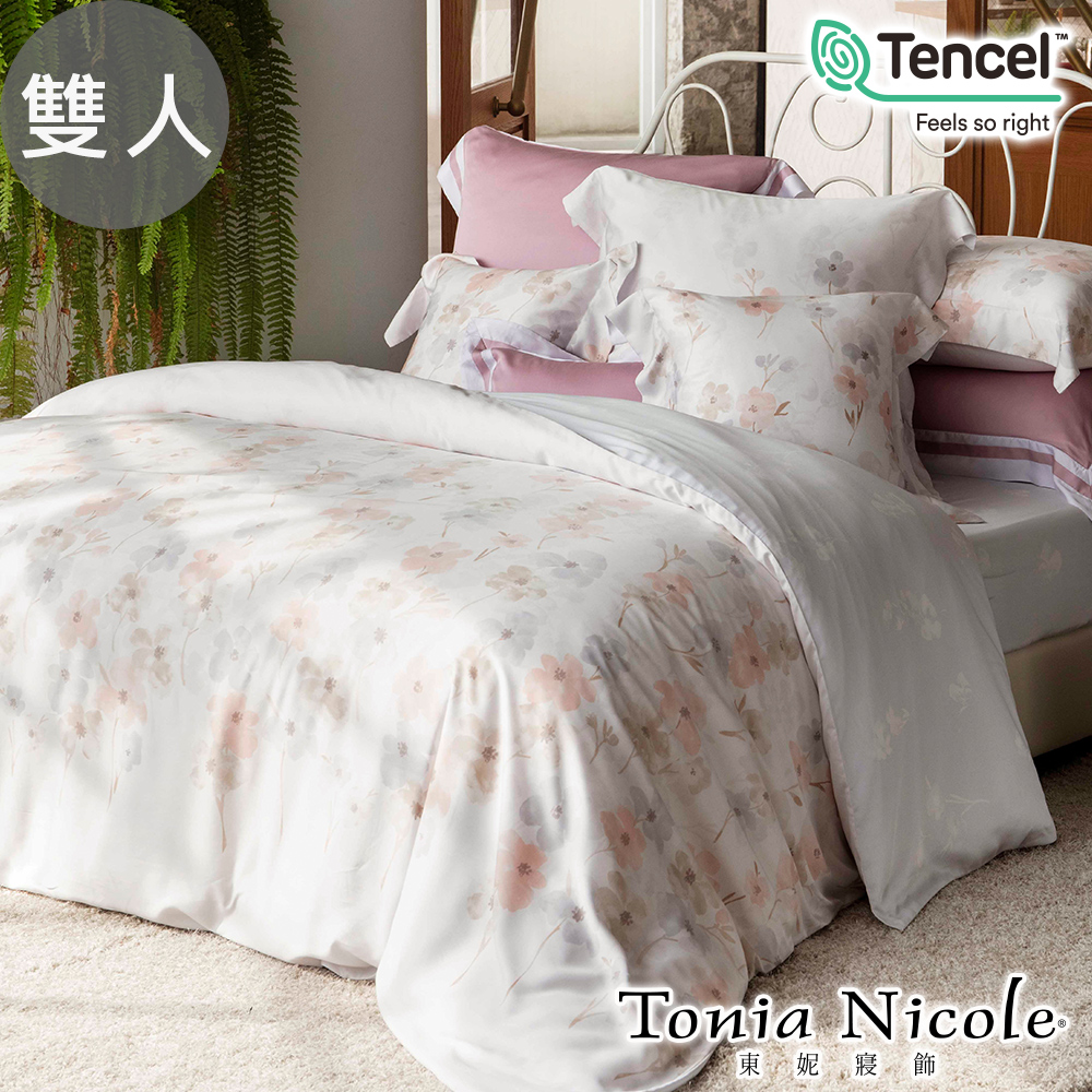 Tonia Nicole東妮寢飾 春櫻漫舞環保印染100%萊賽爾天絲被套床包組(雙人)