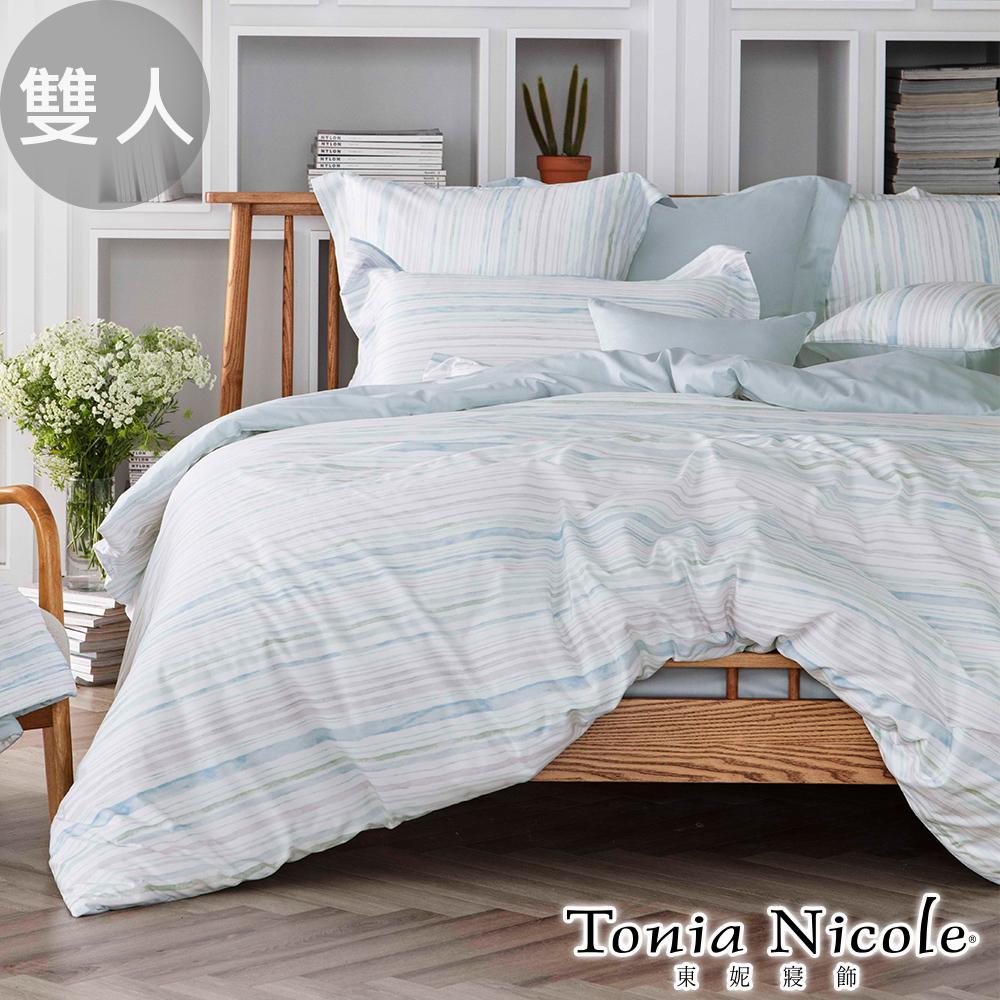 Tonia Nicole東妮寢飾  湛藍之水環保印染100%精梳棉兩用被床包組(雙人)