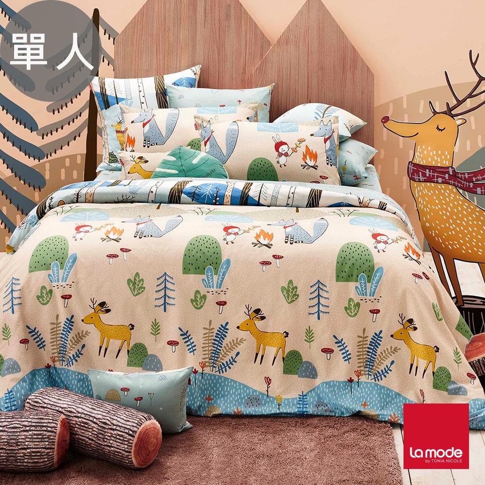 La Mode寢飾 野餐好朋友環保印染100%精梳棉兩用被床包組(單人)-★贈優適枕2入