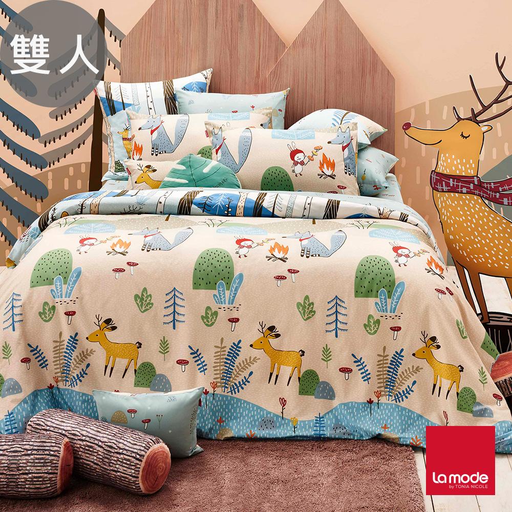 La Mode寢飾 野餐好朋友環保印染100%精梳棉兩用被床包組(雙人)-★贈優適枕2入
