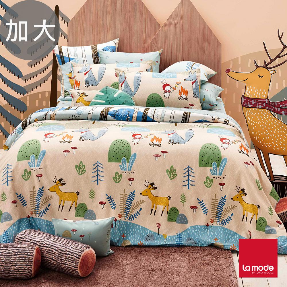 La Mode寢飾 野餐好朋友環保印染100%精梳棉兩用被床包組(加大)-★贈優適枕2入