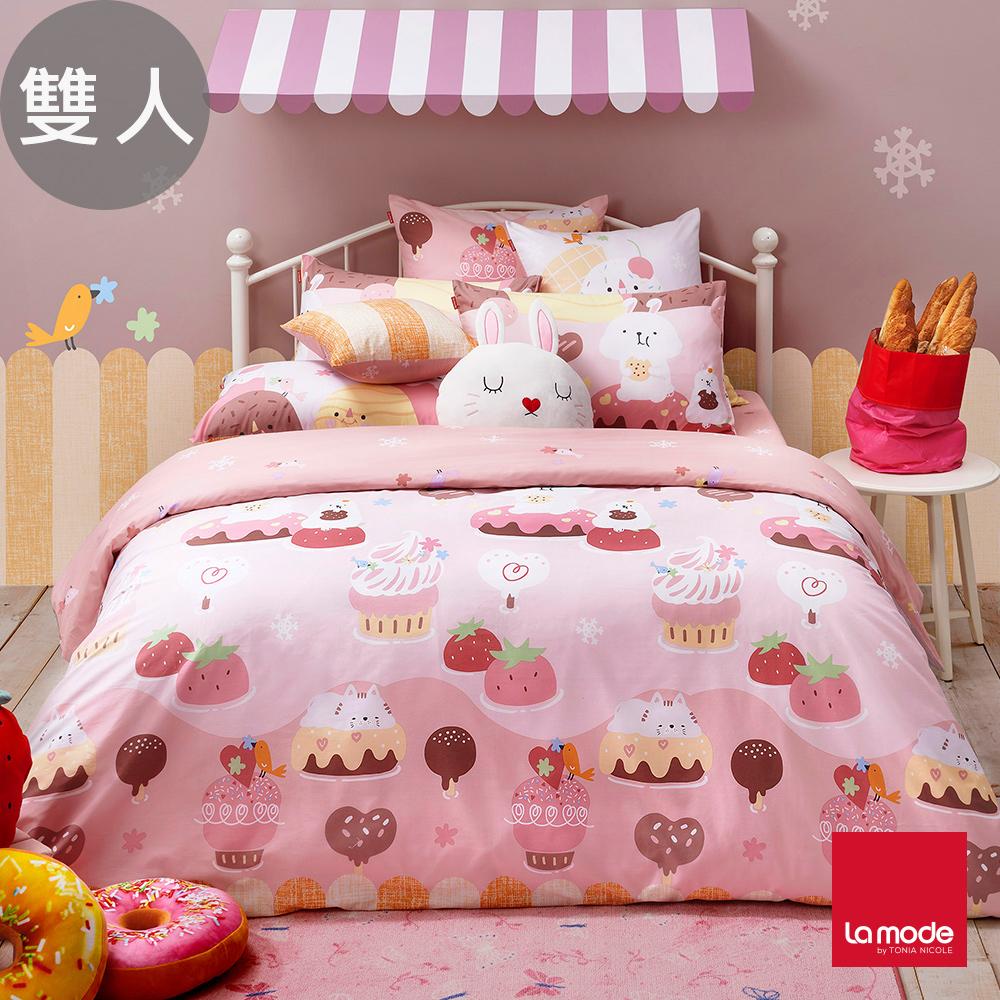 La Mode寢飾 草莓噴泉環保印染100%精梳棉兩用被床包組(雙人)-★贈優適枕2入