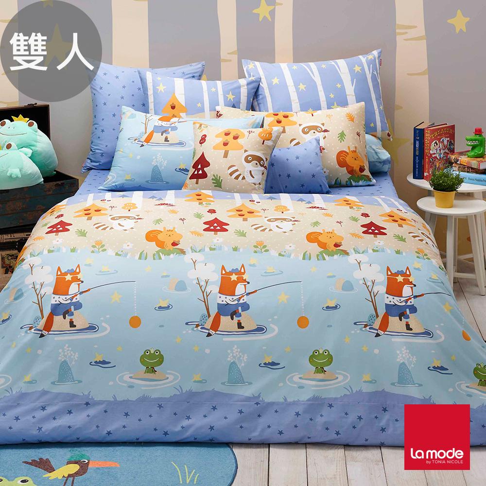 La Mode寢飾 親蛙王子環保印染100%精梳棉兩用被床包組(雙人)-★贈優適枕2入