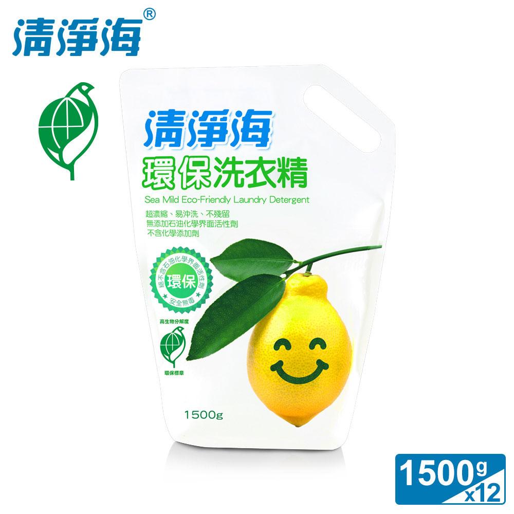 清净海 柠檬系列环保洗衣精补充包 1500g (12入组)