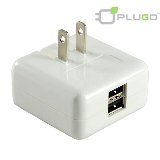 【PLUGO 普樂購】旅行用USB 充電器2A-2孔(USB031WH)