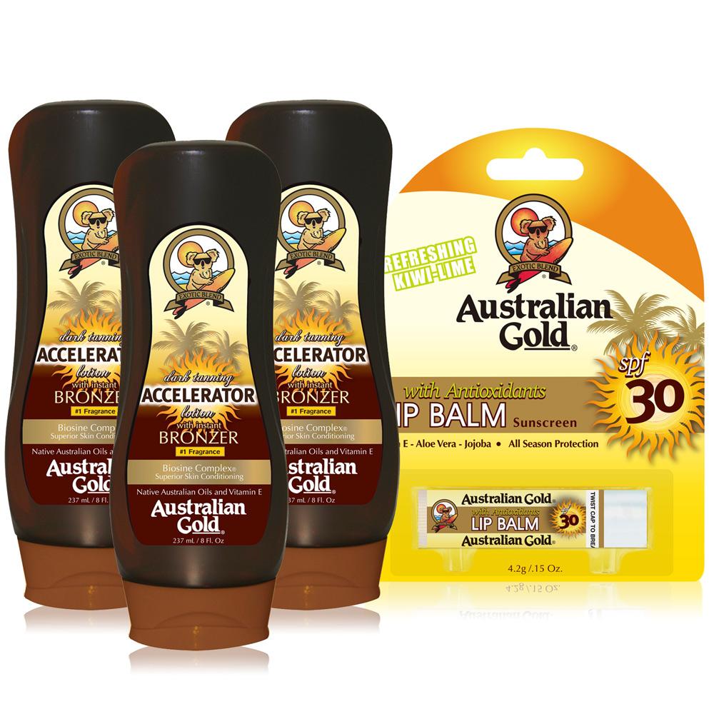 【黝黑不斷組】Australian Gold 金色澳洲 急速黝黑助曬乳液X3贈防曬護唇膏SPF30-公司貨