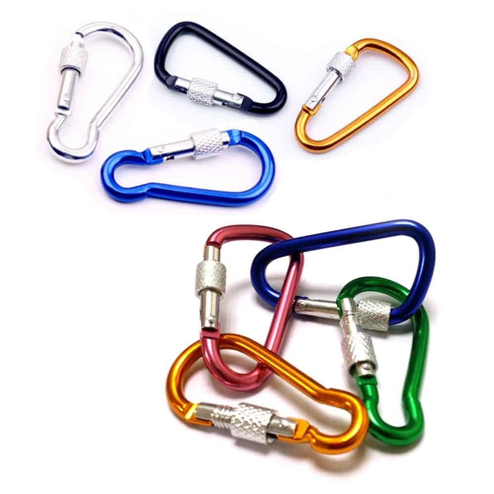 《10入》(4.7cm-5cm)加鎖扣D型環 鑰匙圈 相機包 吊飾掛勾 D字扣環 背包扣 扣環