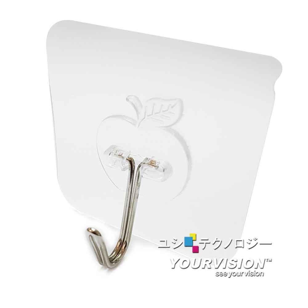(10入)無敵無痕貼 免釘免打孔 透明蘋果造型掛勾 無痕掛勾 金屬掛勾 掛鉤