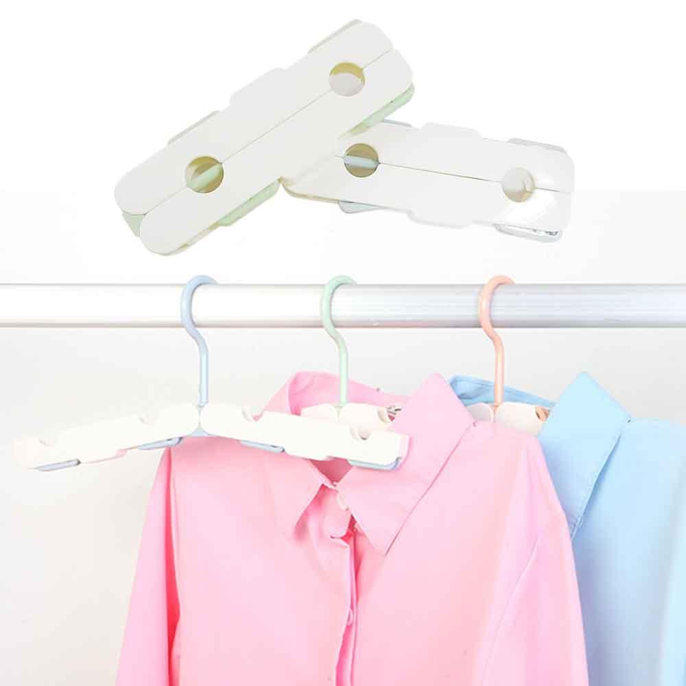 (2入) 小清新旅行折疊衣架 魔術衣架 曬衣架(含隱藏小衣夾)