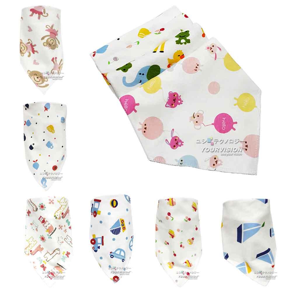 (2入)可愛圖案棉柔舒適口水巾 三角巾 圍兜 圍巾 雙排按扣