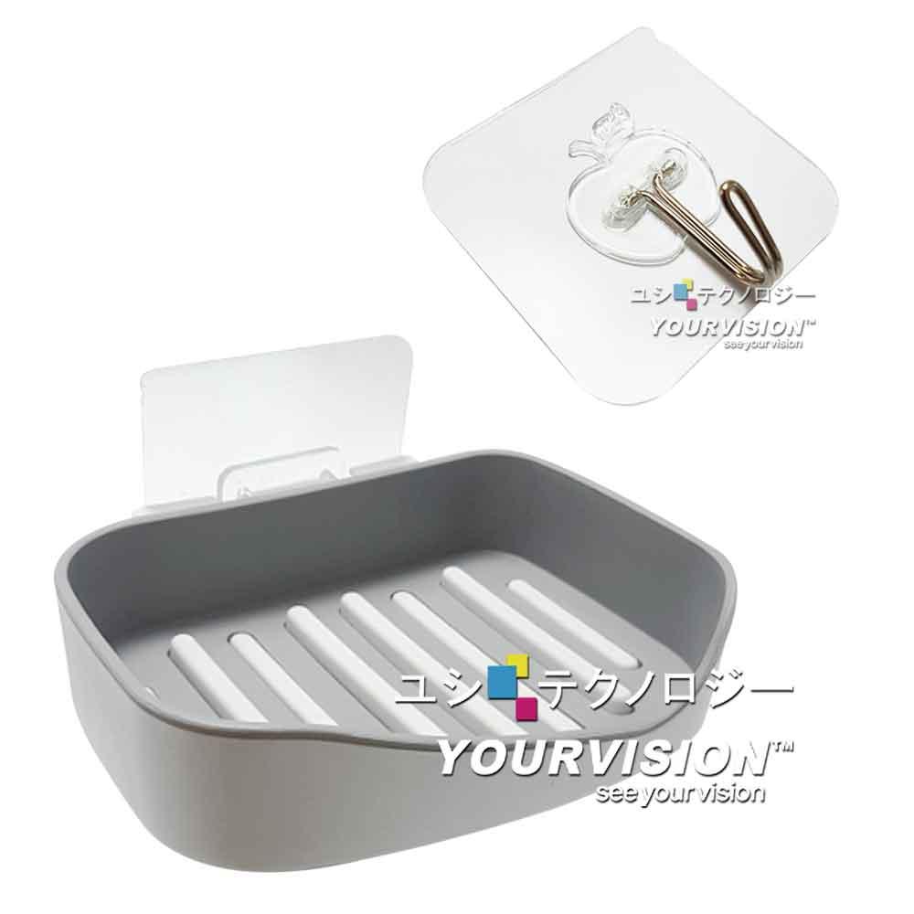 廚衛精選組 無痕貼 加大可分離肥皂盒 菜瓜布架+ (5入)強力無痕掛勾 金屬掛勾