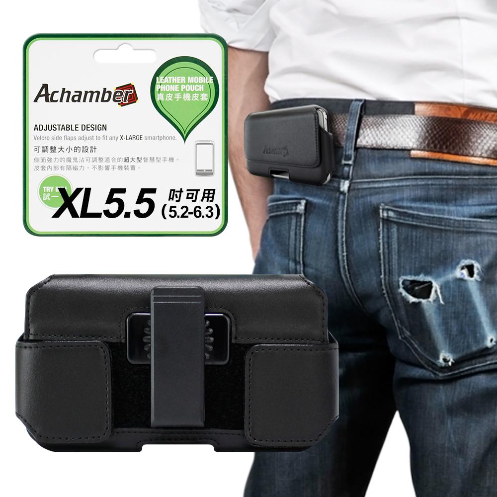 Achamber for 小米8 Lite/小米8 Pro/紅米Note 6 Pro 真皮 型男旋轉腰夾腰掛皮套 橫式皮套