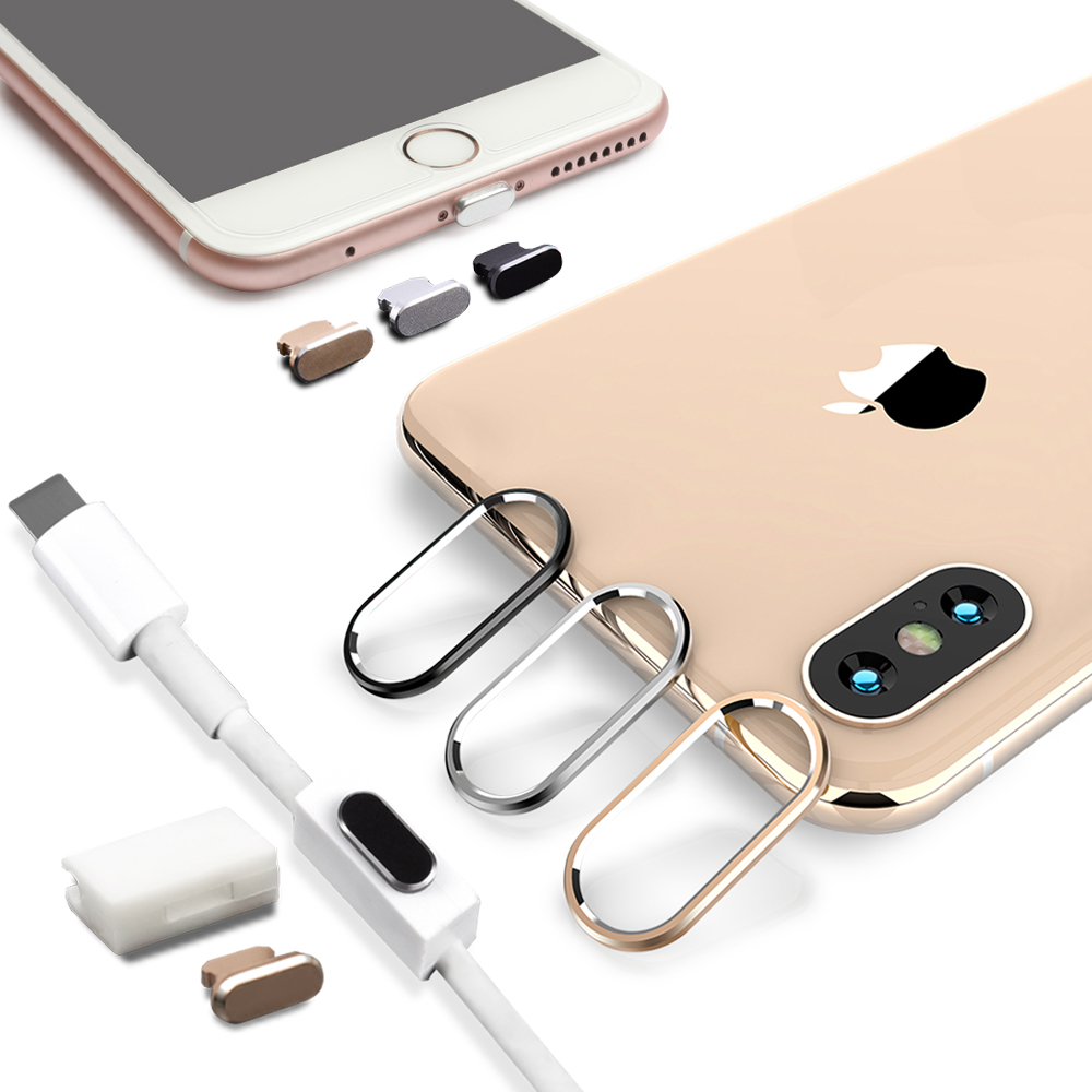 AISURE for iPhone Xs Max /iPhone Xs 完美組合 鏡頭圈 防塵塞 耳機固定夾 -三入一組 不挑色