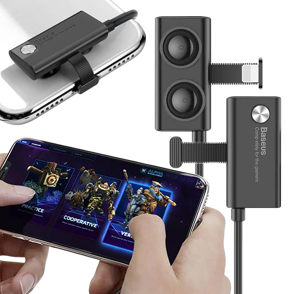 Baseus倍思 隱藏式吸盤手遊 iPhone 接頭充電數據線(黑)100cm-2入