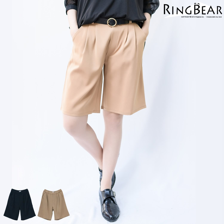 寬褲-韓版率性俐落輕鬆自在素色款打摺後鬆緊雙口袋五分寬褲(黑.卡其XL-4L)-R175熊衣褲語