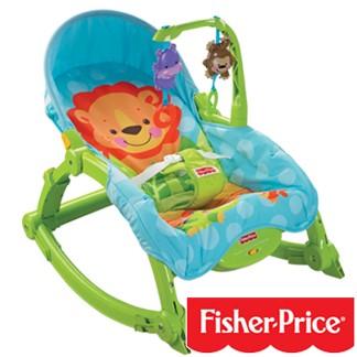 【費雪】新可攜帶兩用安撫椅(W2811)+可愛動物小車車-超值組