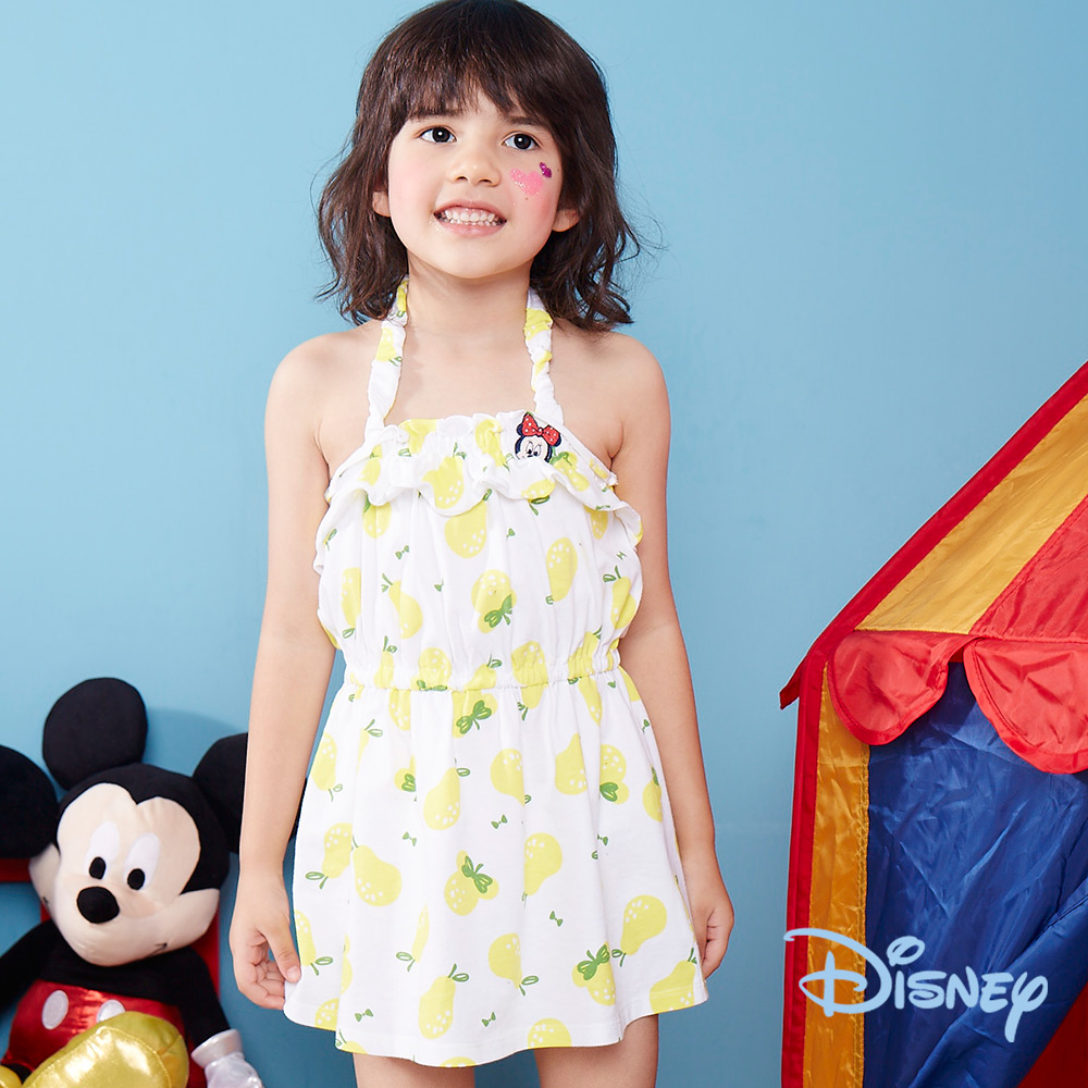 Disney 夏日米妮細帶荷葉棉洋裝 - 白色