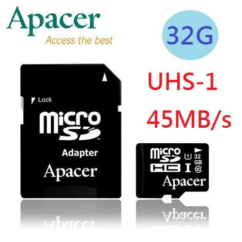 Apacer宇瞻 32GB MicroSD UHS-1 超高速記憶卡(附轉卡)