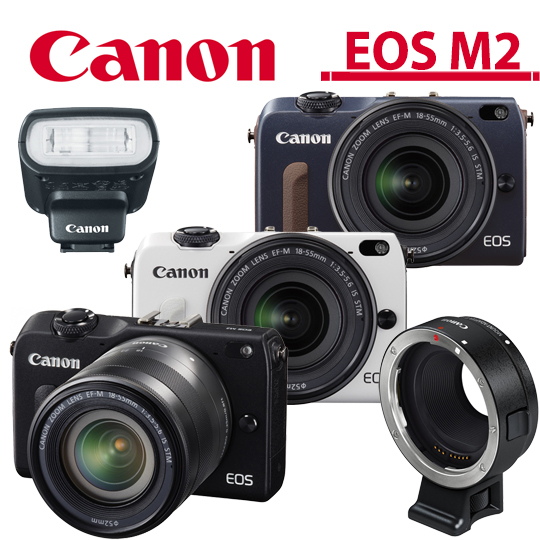 [32G电池包清保]Canon EOS M2 + 18-55mm 变焦组 +闪光灯+转接环/平输中文