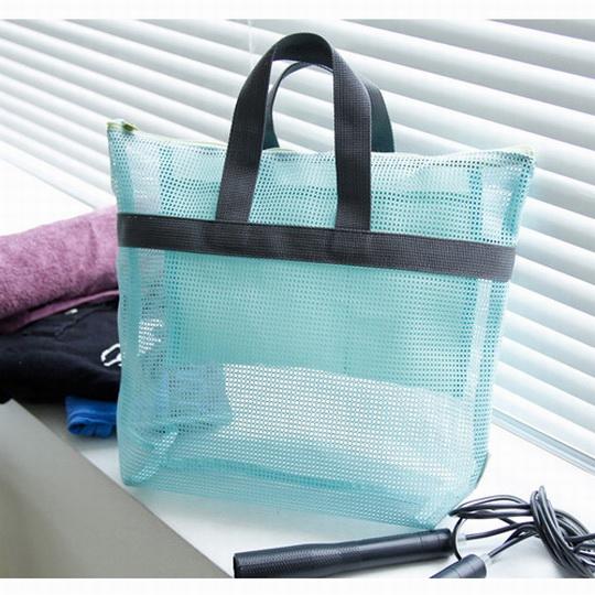 【iSFun】旅行專用*網狀盥洗手提袋/藍綠