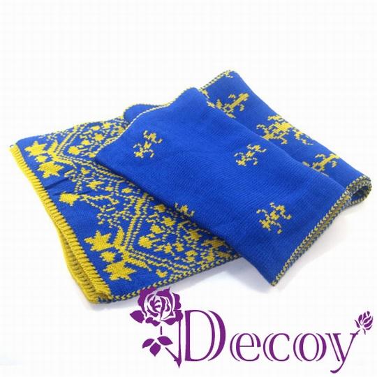 【Decoy】雙色青花瓷 編織圍巾/藍黃