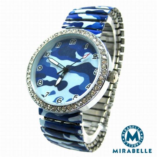 【Mirabelle】藍海波紋*彈性伸縮錶/銀框