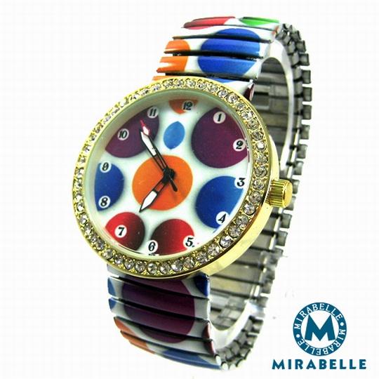 【Mirabelle】繽紛糖果*彈性伸縮錶/金框