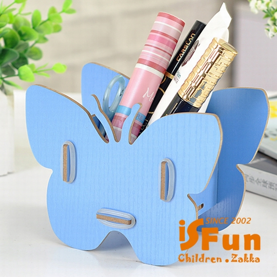 【iSFun】缤纷蝴蝶*木质桌上收纳盒/蓝