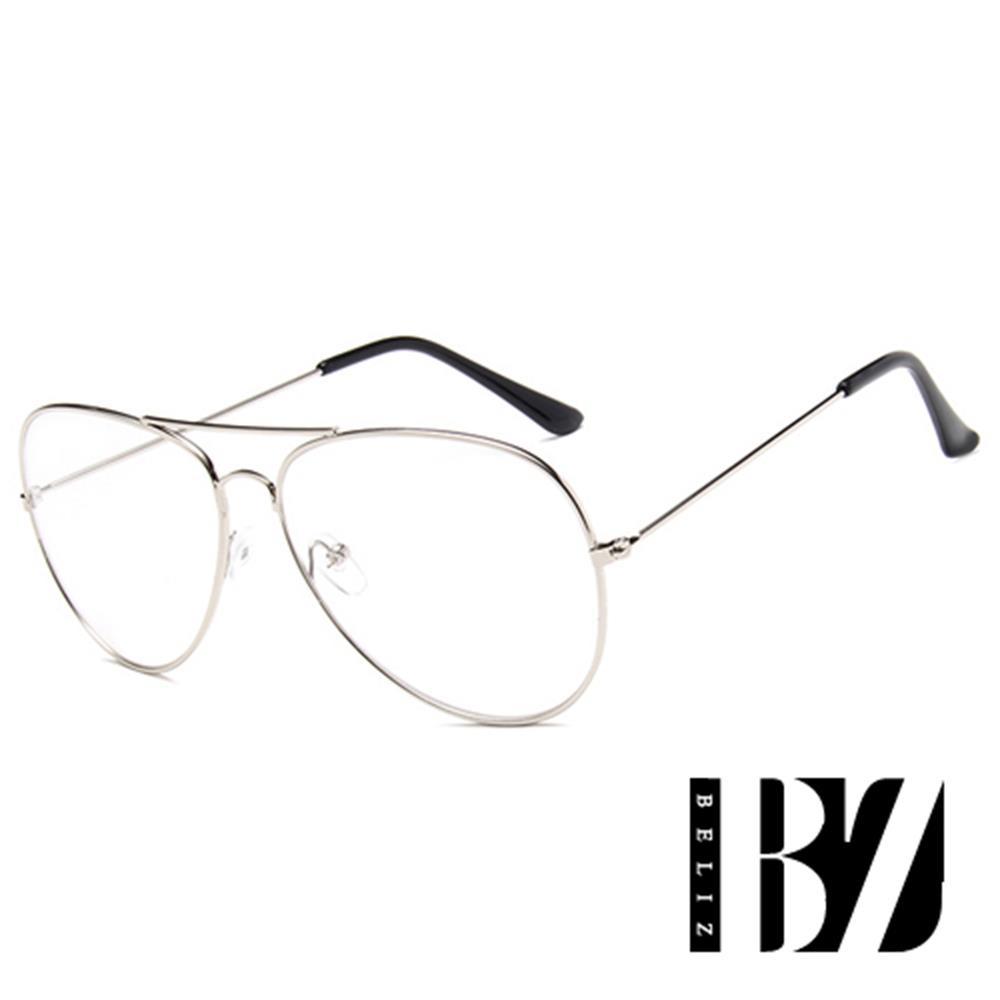 【BeLiz】炫彩糖果*透视雷朋细框平光眼镜/银框
