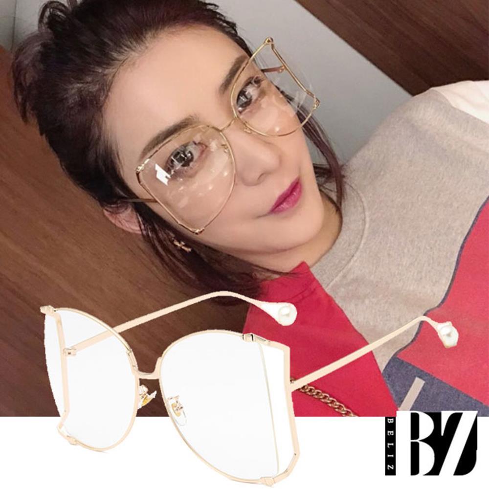 【BeLiz】蝴蝶削框*珍珠金属镜架平光眼镜/金框白