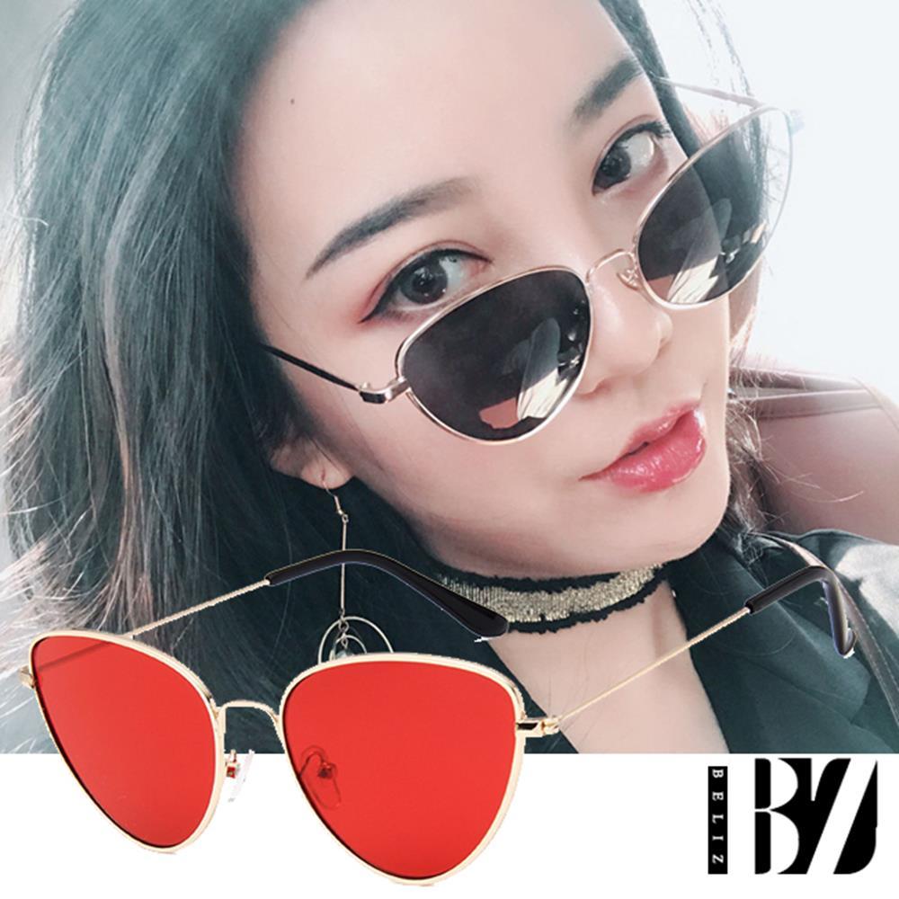 【BeLiz】金框猫眼*透视炫色时尚墨镜/金框红