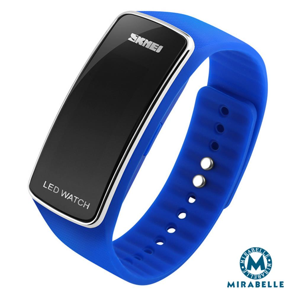 【Mirabelle】防水运动*二代LED夜光省电矽胶手表/银框蓝