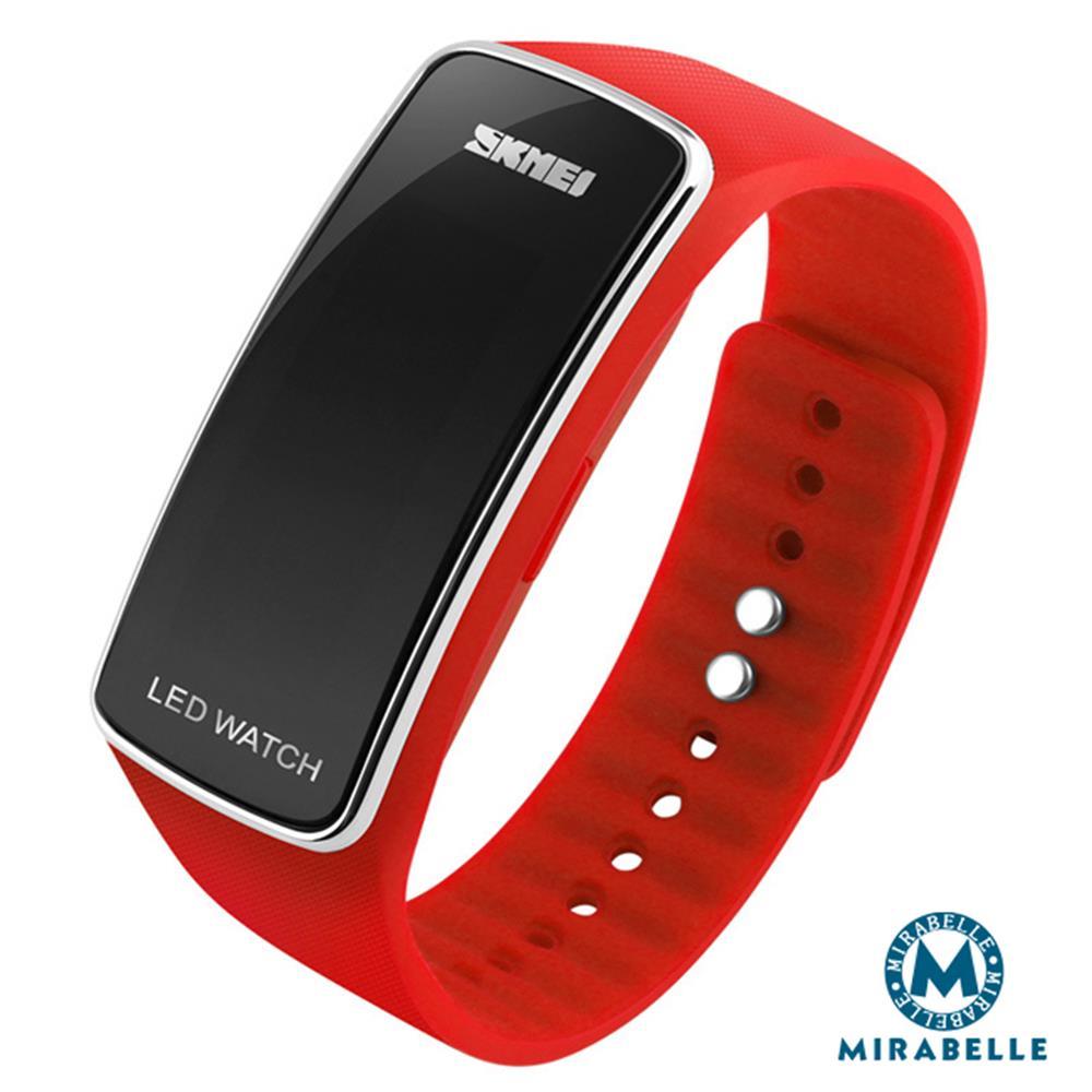 【Mirabelle】防水运动*二代LED夜光省电矽胶手表/银框红