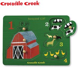 ~美國Crocodile Creek~寶寶木製拼圖~歡樂農場