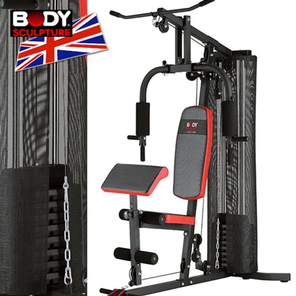 【BODY SCULPTURE】配重片150磅综合重量训练机(附护网+二头肌板)