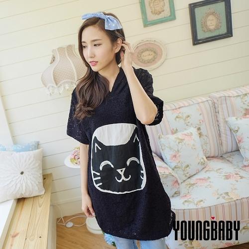 【YOUNGBABY】韓國直運 笑臉貓貼布連帽蕾絲長上衣/洋裝.黑