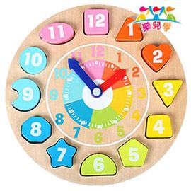 樂兒學 可愛動物時鐘益智木製學習積木