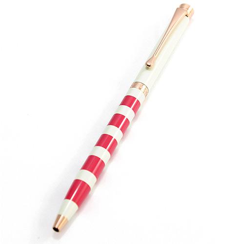 MITIQUE美締克 Oriental 東方美系列 象牙白橫條紋玫瑰金夾原子筆