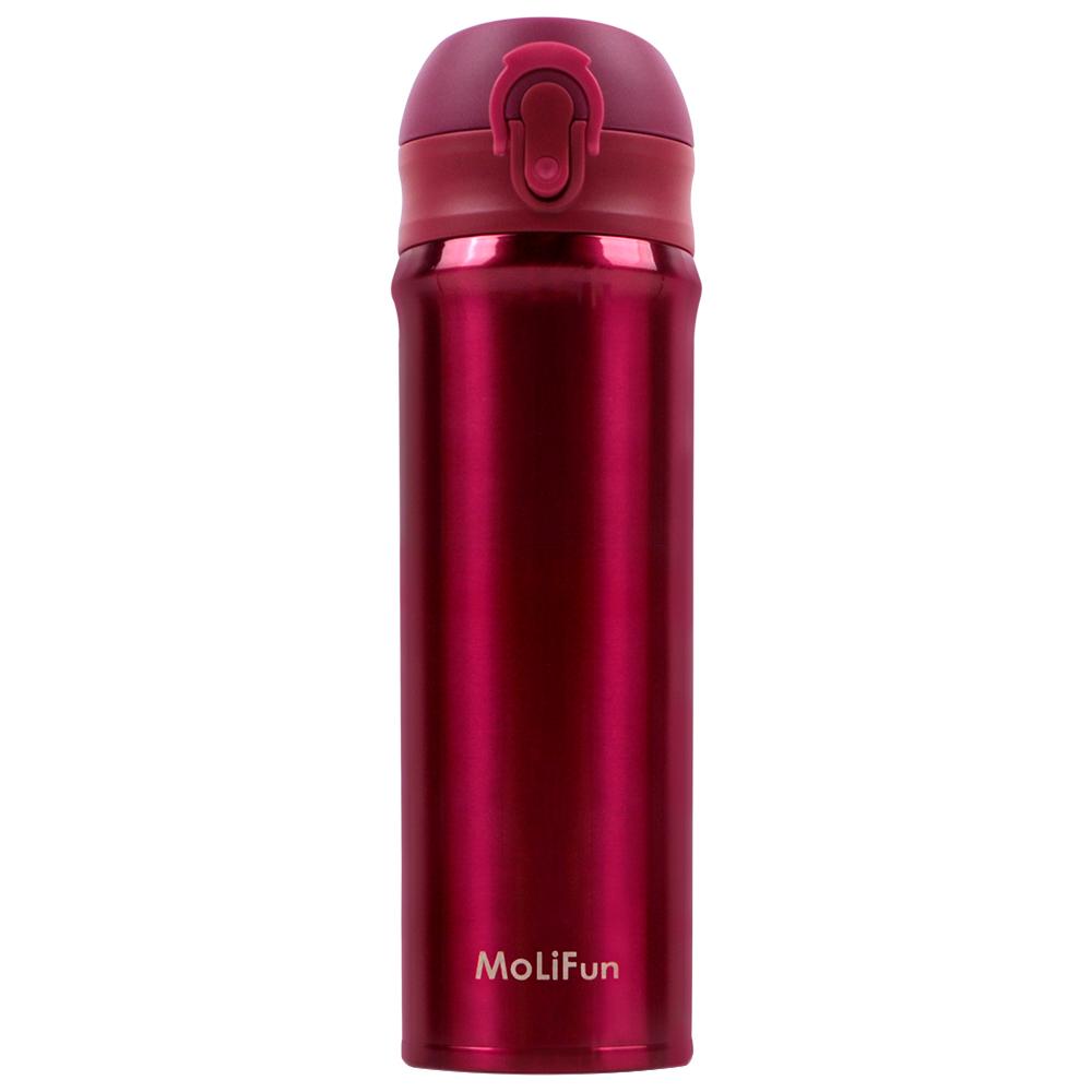 MoliFun魔力坊 316旋壓式輕量真空彈蓋杯保冰保溫杯500ml~玫瑰紅 MF0500