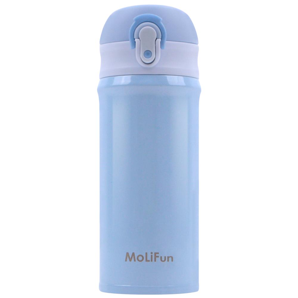 MoliFun魔力坊 316旋壓式輕量真空彈蓋杯保冰保溫杯380ml~晴空藍 MF0380